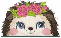 Hedgehog with roses embroidery design