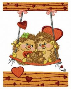 Hedgehog's date embroidery design