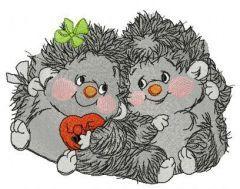 Hedgehog's Valentine's day embroidery design
