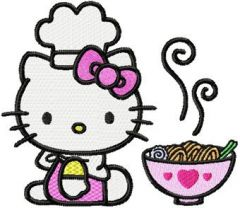 Hello Kitty Loves Chinese Food embroidery design
