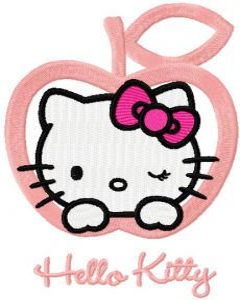 Hello Kitty apple embroidery design