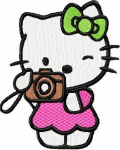 Hello Kitty Photographer embroidery design