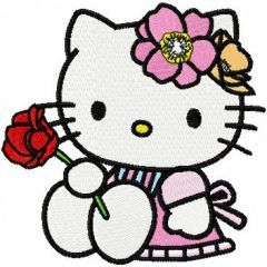 Hello Kitty with Rose embroidery design