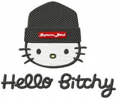 Hello Kitty Hello Bitchy embroidery design