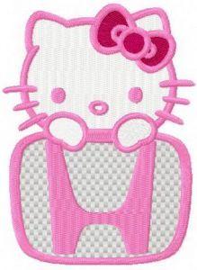 Hello Kitty Honda logo embroidery design