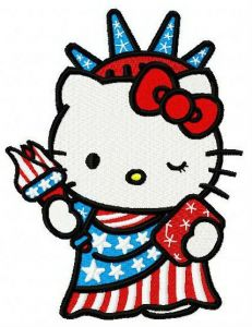 Hello Kitty Statue of Liberty embroidery design
