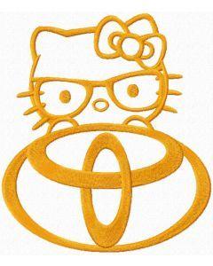 Hello Kitty Toyota logo embroidery design