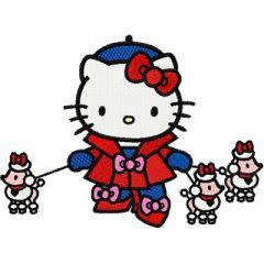 Hello Kitty with Small Dogs embroidery design