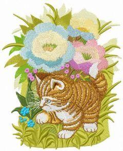 Hiding in garden flowers embroidery design
