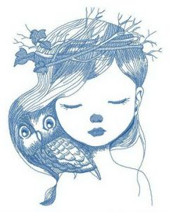 Hiding owl embroidery design
