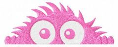 Hiding pink monster embroidery design