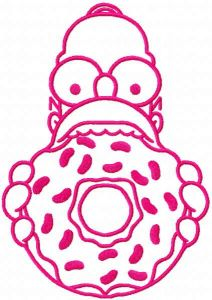 Homer Donut pink embroidery design