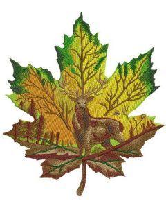 Horned deer on maple leaf embroidery design