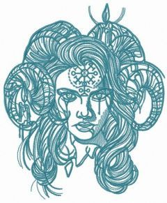 Horny demon with pictograph on forehead 2 embroidery design
