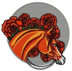 Horse with pearl bridle embroidery design