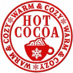Hot Cocoa warm and cozy embroidery design