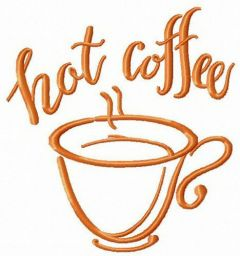 Hot coffee cup embroidery design