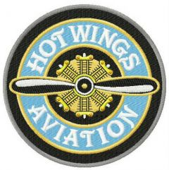 Hot wings aviation embroidery design
