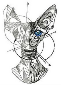 How to draw a cat embroidery design