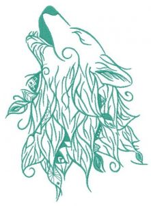 Howling wolf embroidery design 2