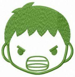 Hulk face embroidery design