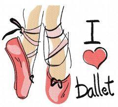 I love ballet embroidery design