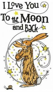 I love you to the Moon and back embroidery design 2