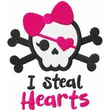 I steal hearts embroidery design