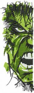 Incredible Hulk art half face embroidery design
