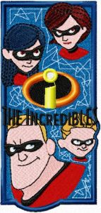 """Bookmark """"The Incredibles"""" embroidery design"""
