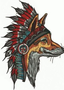 Indian fox 3 embroidery design