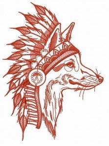 Indian fox 4 embroidery design