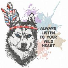 Indian wolf embroidery design