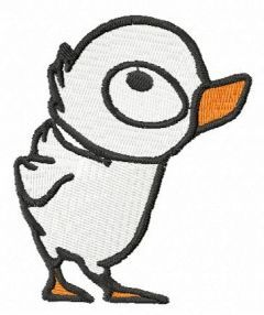 Inquisitive duckling free embroidery design