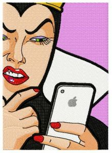 iPhone in fairytale embroidery design