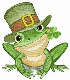 Irish frog embroidery design