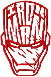 Iron Man stylish helmet embroidery design