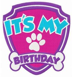 It's my birthday shield embroidery design