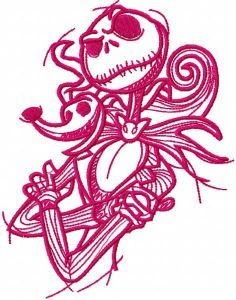 Jack and spooky one colored embroidery design