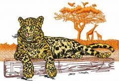 Jaguar african landscape embroidery design