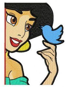 Jasmin with bird 2 embroidery design