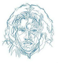 Jon Snow art embroidery design