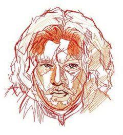 Jon Snow fast sketch embroidery design