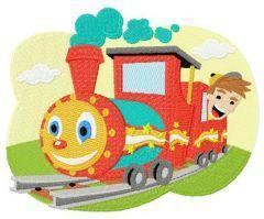 Kid's train embroidery design