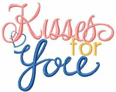 Kisses for you embroidery design