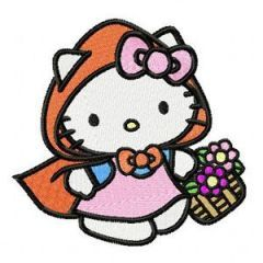 Hello Kitty Happy Birthday embroidery design