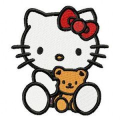 Hello Kitty with Small Bear embroidery design