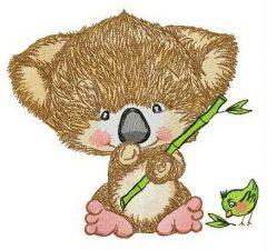Koala and birdie embroidery design