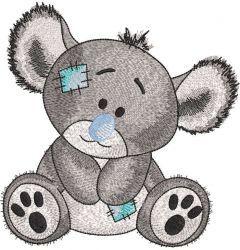 Koala greyscale embroidery design