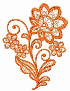 Lace flower embroidery design 15